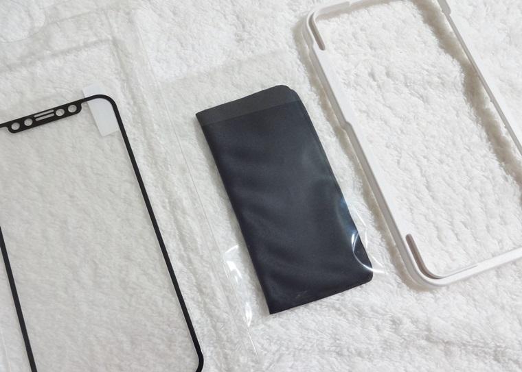 Premium Style iPhone 11 Pro/XS/X用 治具付き 3Dハイブリッドガラス アンチグレア PG-19AGL02Hの付属品