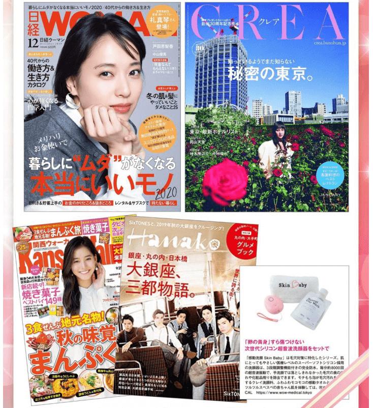 感動洗顔SkinBabyは人気雑誌 CREA、日経WOMAN、Hanako、関西ウォーカーに掲載
